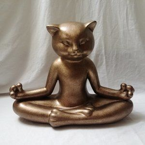 Gold Tone Yoga Meditating Zen Cat Statue